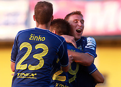 Luka Zinko  (23) of Domzale, Luka Elsner  (29) of Domzale and Ivan Knezovic  (25) of Domzale celebrate at 7th Round of PrvaLiga Telekom Slovenije between FC Koper vs NK Domzale, on August, 2008, in SRC Bonifika, in Koper, Slovenia. (Photo by Vid Ponikvar / Sportal Images)