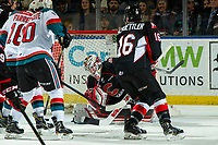 KELOWNA, CANADA - JANUARY 4:  Taylor Gauthier #35 of the Prince George Cougars makes a second period save against the Kelowna Rockets on January 4, 2019 at Prospera Place in Kelowna, British Columbia, Canada.  (Photo by Marissa Baecker/Shoot the Breeze)