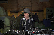 Boy george DJing...Smile1-D in association with Emporio Armani.  Wapping Power Station. 3 April 2001. © Copyright Photograph by Dafydd Jones 66 Stockwell Park Rd. London SW9 0DA Tel 020 7733 0108 www.dafjones.com