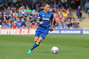 AFC Wimbledon defender Barry Fuller (2) dribbling during the EFL Sky Bet League 1 match between AFC Wimbledon and Doncaster Rovers at the Cherry Red Records Stadium, Kingston, England on 26 August 2017. Photo by Matthew Redman.