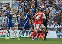 Football - 2017 FA Cup Final - Arsenal vs. Chelsea<br /> <br /> Arsenal and Chelsea players surround referee Anthony Taylor as both contest the goal scored at Wembley.<br /> <br /> COLORSPORT/DANIEL BEARHAM
