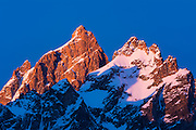 Dawn light on the Grand Teton and Mount Owen in winter, Grand Teton National Park, Wyoming USA