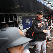 NEW YORK, NEW YORK - MAY 01: Manager Bruce Bochy #15 of the San Francisco Giants in the dugout during the New York Mets Vs San Francisco Giants MLB regular season game at Citi Field on May 01, 2016 in New York City. (Photo by Tim Clayton/Corbis via Getty Images)