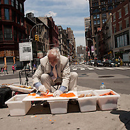 New York street seller in Union square street life  New York - United States   /  vendeur de rue, Union square, scene de rue  New York - Etats unis