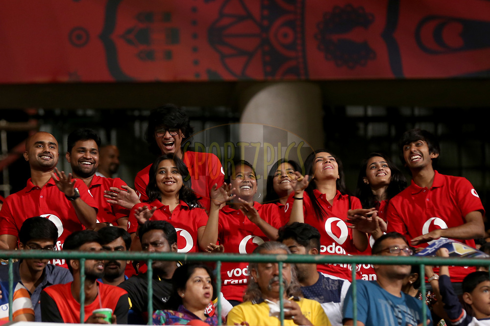 Vodafone fan army during match 5 of the Vivo 2017 Indian Premier League between the Royal Challengers Bangalore and the Delhi Daredevils held at the M.Chinnaswamy Stadium in Bangalore, India on the 8th April 2017<br /> <br /> Photo by Faheem Hussain - IPL - Sportzpics