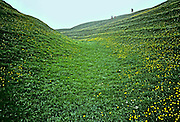 Grass-covered chalk ditch studded with buttercups surrounds the stone circle at Avebury; distant walkers seen from the bottom of the ditch which is 20 ft deep and 1396 ft in diameter.  Earthworks dated 2500 BC
