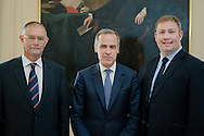Governer of the Bank of England Mark Carney visits RHASS, Ingliston, Edinburgh.<br /> L-R Keith Brook, Chairman RHASS , Gov Mark Carney, Alan Laidlaw, Chief Eesc RHASS