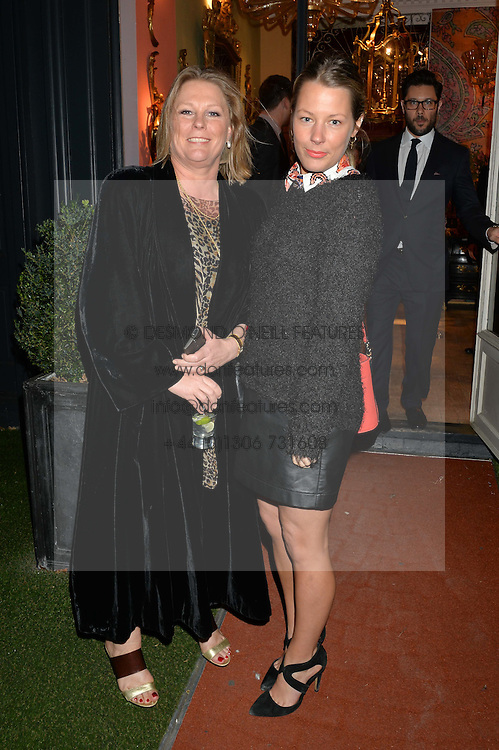Left to right, VISCOUNTESS GORMANSTON and DAVINA HARBORD at a party at Guinevere 574-580 ing's Road, London on 7th October 2014.
