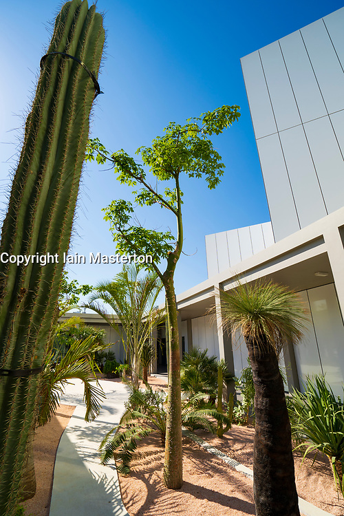 View of outdoor garden at new Jameel Arts Centre in Dubai, UAE, United Arab Emirates