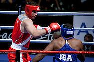 Milan, 01-09-2009 ITALY - Aiba World Boxing Championship Milan 2009.  Super Heavy +91 kg preliminaries..Pictured: Cammarelle Roberto ITA red vs Hunter Michael USA blue.Photo by Giovanni Marino/OTNPhotos . Obligatory Credit