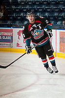 KELOWNA, CANADA - OCTOBER 18:  Myles Bell #29 of the Kelowna Rockets warms up on the ice as the Prince George Cougars visit the Kelowna Rockets on October 18, 2012 at Prospera Place in Kelowna, British Columbia, Canada (Photo by Marissa Baecker/Shoot the Breeze) *** Local Caption ***