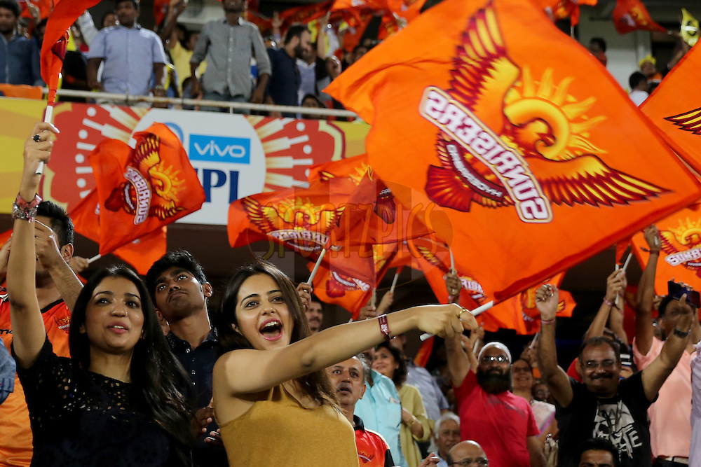 Actor Rakul Preet Singh during match 27 of the Vivo IPL 2016 (Indian Premier League ) between the Sunrisers Hyderabad and the Royal Challengers Bangalore held at the Rajiv Gandhi Intl. Cricket Stadium, Hyderabad on the 30th April 2016<br /> <br /> Photo by Faheem Hussain / IPL/ SPORTZPICS