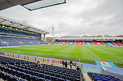 The rains stop briefly at Ewood Park before the Sky Bet Championship match between Blackburn Rovers and Sheffield Wednesday at Ewood Park, Blackburn, England on 28 November 2015. Photo by Mark Pollitt.