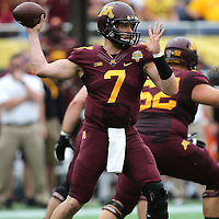 ORLANDO, FL - JANUARY 01: Mitch Leidner #7 of the Minnesota Golden Gophers throws a pass during the Buffalo Wild Wings Citrus Bowl against the Missouri Tigers at the Florida Citrus Bowl on January 1, 2015 in Orlando, Florida. (Photo by Alex Menendez/Getty Images) *** Local Caption *** Mitch Leidner
