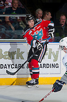 KELOWNA, CANADA - MARCH 18: Rodney Southam #17 of Kelowna Rockets passes the puck against the Seattle Thunderbirds on March 18, 2015 at Prospera Place in Kelowna, British Columbia, Canada.  (Photo by Marissa Baecker/Shoot the Breeze)  *** Local Caption *** Rodney Southam;