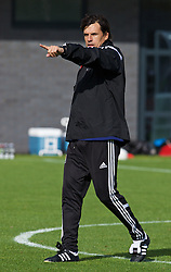 NEWPORT, WALES - Wednesday, October 8, 2014: Wales' manager Chris Coleman during training at Dragon Park National Football Development Centre ahead of the UEFA Euro 2016 qualifying match against Bosnia and Herzegovina. (Pic by David Rawcliffe/Propaganda)