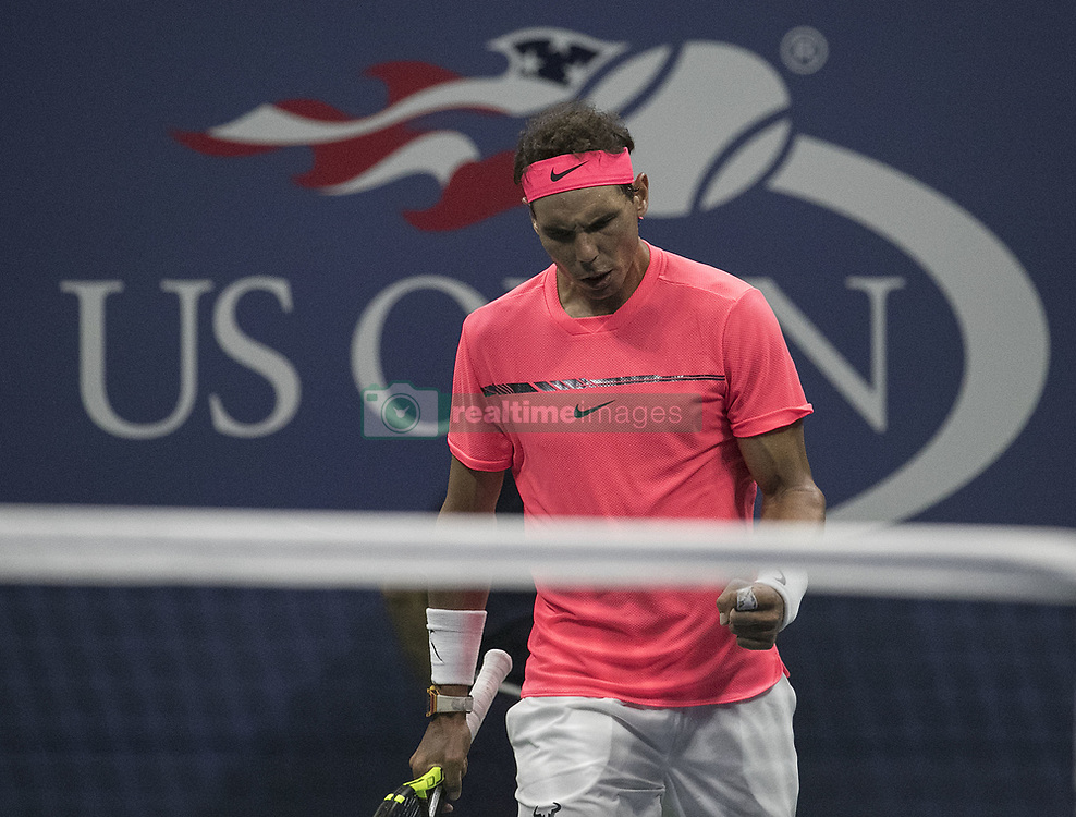 August 30, 2017 - Flushing Meadows, New York, U.S - Rafael Nadal reacts after winning the First Set on a tie breaker, 6-6(8-6)during his match on Day Two of the 2017 US Open with Dusan Lajovic at the USTA Billie Jean King National Tennis Center on Monday August 29, 2017 in the Flushing neighborhood of the Queens borough of New York City. (Credit Image: © Prensa Internacional via ZUMA Wire)