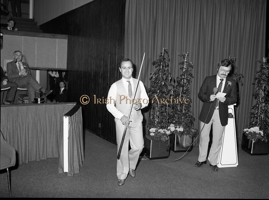 The Benson and Hedges .Irish Masters Snooker..1984..28.03.1984..03.28.1984..28th March 1984..The championship was held at Goffs,Co Kildare. All the top names in snooker took part..Steve Davis,Jimmy White,Eddie Charlton,.Tony Knowles,Dennis Taylor,Tony Meo,.Alex Higgins,Ray Reardon,.Cliff Thorburn,Terry Griffiths,.Bill Werbeniuk and Eugene Hughes..The eventual winner was Steve Davis who beat Terry Griffiths 9 -1 in the final.Image of Londoner Tony Meo as he is introduced to the crowd.