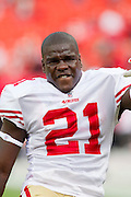 KANSAS CITY, MO - SEPTEMBER 26:   Frank Gore #21 of the San Francisco 49ers warms up before a game against the Kansas City Chiefs at Arrowhead Stadium on September 26, 2010 in Kansas City, Missouri.  The Chiefs defeated the 49ers 31-10.  (Photo by Wesley Hitt/Getty Images) *** Local Caption *** Frank Gore