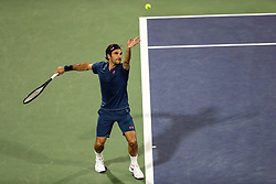 DUBAI, March 1, 2019  Roger Federer of Switzerland serves during the singles quarterfinal match between Roger Federer of Switzerland and Marton Fucsovics of Hungary at the ATP Dubai Duty Free Tennis Championships 2019 in Dubai, the United Arab Emirates, Feb. 28, 2019. Roger Federer won 2-0 to proceed to the semifinals. (Credit Image: © Mahmoud Khaled/Xinhua via ZUMA Wire)