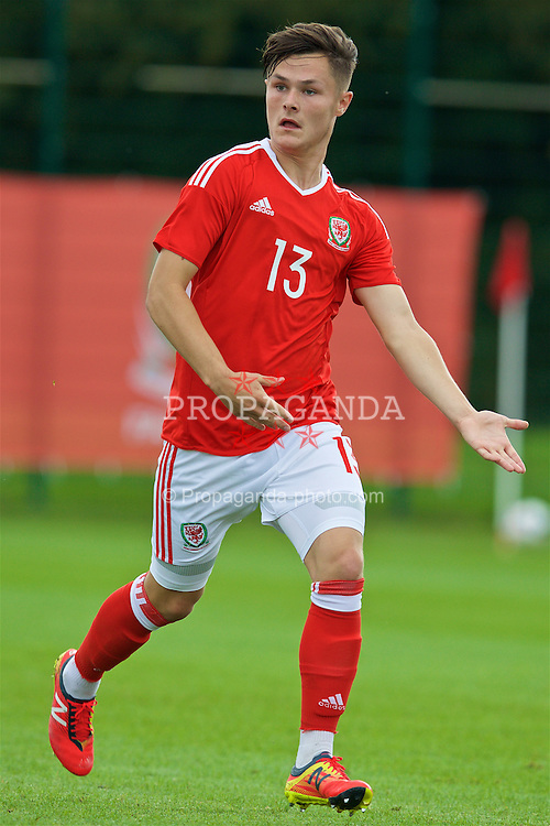 NEWPORT, WALES - Tuesday, September 6, 2016: Wales' Liam Cullen in action against Iceland during the International Friendly match at Dragon Park. (Pic by David Rawcliffe/Propaganda)