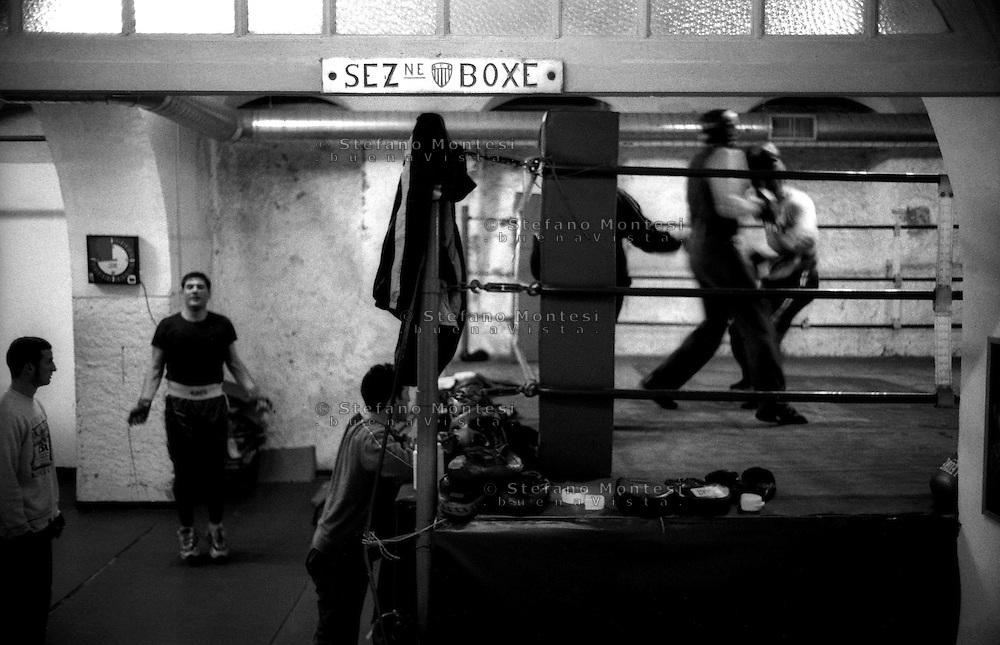 Roma  2005.La sezione boxe della palestra A.S. Audace