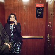 "Representative Pramila Jayapal (D-WA, 7), and Communications Director, Omer Farooque, take the elevator to the United States Capitol House Chambers, to support the introduction of H.R 724 by Rep. Zoe Lofgren (D-CA) to ""revoke President Trump's January 27, 2017 executive order...[and] block funding for any enforcement of the order,"" on Tuesday, January 31, 2017.  John Boal photo/for The Stranger"