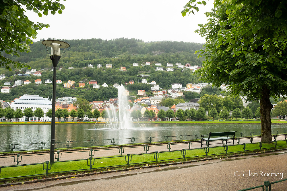 A fountain and lake in the city park, Lille Lunsgegardsvann in Bergen, Vestlandet, Norway