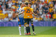 RED CARD Newport County defender Mark O'Brien (25) is sent off for a foul on Tranmere Rovers midfielder James Norwood (10) during the EFL Sky Bet League 2 Play Off Final match between Newport County and Tranmere Rovers at Wembley Stadium, London, England on 25 May 2019.