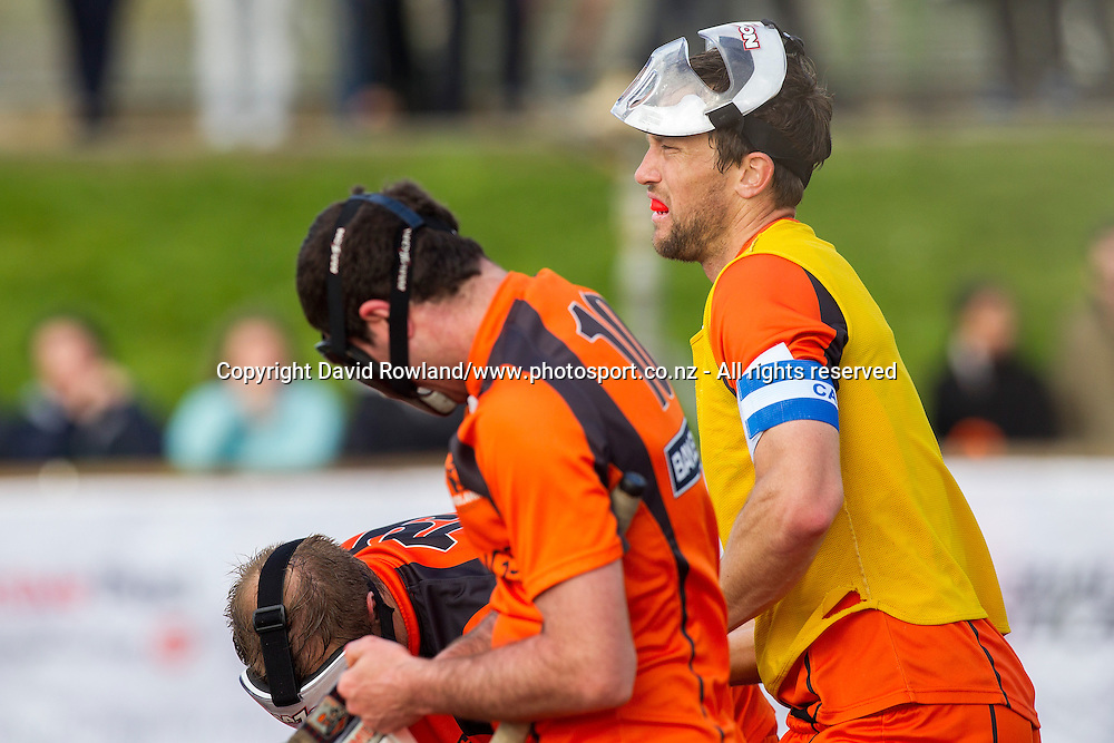 Midland`s captain Richard Petherick covering for the goalkeeper prepares to receive a penalty corner in the Auckland v Midlands Men`s Final match, Ford National Hockey League, North Harbour Hockey Stadium, Auckland, New Zealand,Sunday, September 14, 2014. Photo: David Rowland/Photosport