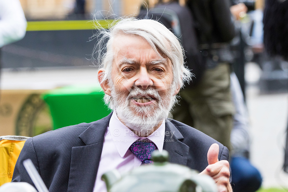 London, October 10 2017. Paul Flynn MP speaks to the media as medical cannabis users from the United Patients Alliance gather at Old Palace Yard demanding the decriminalisation of cannabis which they say has proven to be the most successful aid to pain relief, demanding that MPs respect the scientifically proven benefits of THC (tetrahydrocannabinol). © Paul Davey
