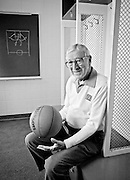 File photo of John Wooden from 1994 taken at Hinkle Fieldhouse. Wooden, from Martinsville, went on to coach UCLA to 10 national titles from 1964 to 1975. Wooden is a member of the Naismith Basketball Hall of Fame, as both a player and a coach.  He was a three time all-american at Purdue as well. (Mike Fender Photo)