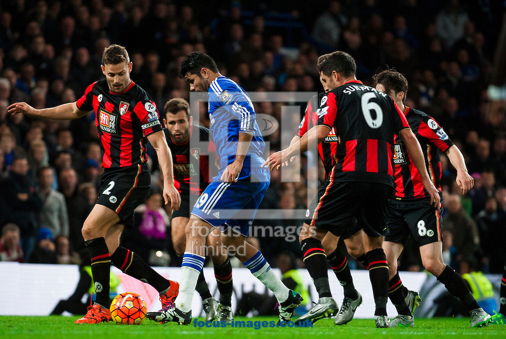 Diego Costa of Chelsea in possession in the penalty area during the Barclays Premier League match at Stamford Bridge, London<br /> Picture by Jack Megaw/Focus Images Ltd +44 7481 764811<br /> 05/12/2015