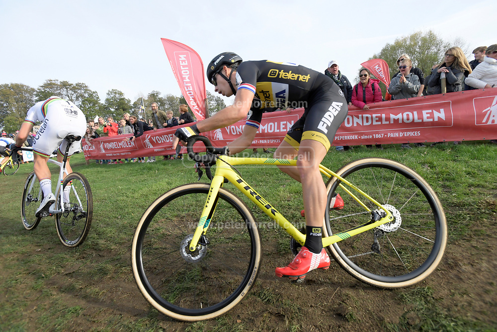 Belgium, November 1 2017: Current World Champion, Wout van Aert (Crelan-Charles), leads Lars van der Haar (Telenet-Fidea Lions) during the 2017 edition of the Koppenbergcross elite men's race. The race is part of the DVV Verzekeriningen Trofee series. Copyright 2017 Peter Horrell.
