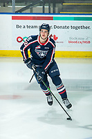 KELOWNA, BC - FEBRUARY 12: Parker Bell #22 of the Tri-City Americans warms up on the ice with the puck against the Kelowna Rockets at Prospera Place on February 8, 2020 in Kelowna, Canada. (Photo by Marissa Baecker/Shoot the Breeze)