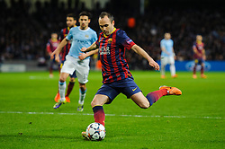 Barcelona Midfielder Andres Iniesta (ESP) crosses - Photo mandatory by-line: Rogan Thomson/JMP - Tel: 07966 386802 - 18/02/2014 - SPORT - FOOTBALL - Etihad Stadium, Manchester - Manchester City v Barcelona - UEFA Champions League, Round of 16, First leg.