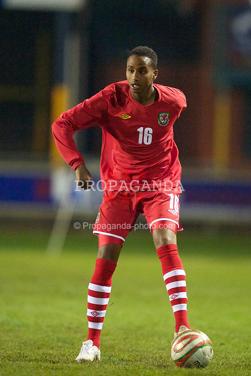 BRIDGEND, WALES - Monday, October 25, 2010: Wales' Ibrahim Farah in action against Kazakhstan during the UEFA Under-19 Championship Qualifying Group 1 match at Brewery Field. (Pic by: David Rawcliffe/Propaganda)