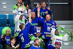 Fans of Slovenia celebrate during ice hockey match between Hunngary and Kazakhstan at IIHF World Championship DIV. I Group A Kazakhstan 2019, on May 3, 2019 in Barys Arena, Nur-Sultan, Kazakhstan. Photo by Matic Klansek Velej / Sportida