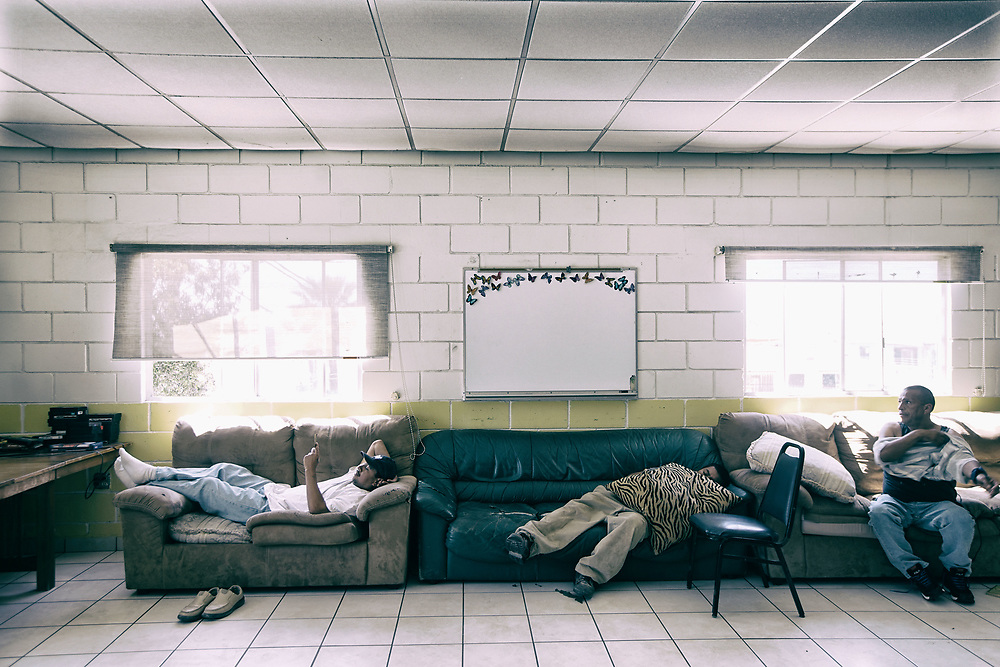 Men rest in a lounge while staying at Casa Migrantes in Tijuana, Mexico on Monday, May 1, 2017..  Many people who come to the border are allowed to apply for asylum and are being shooed away by Customs and border protection agents(Photo by Sandy Huffaker/Zuma Press)