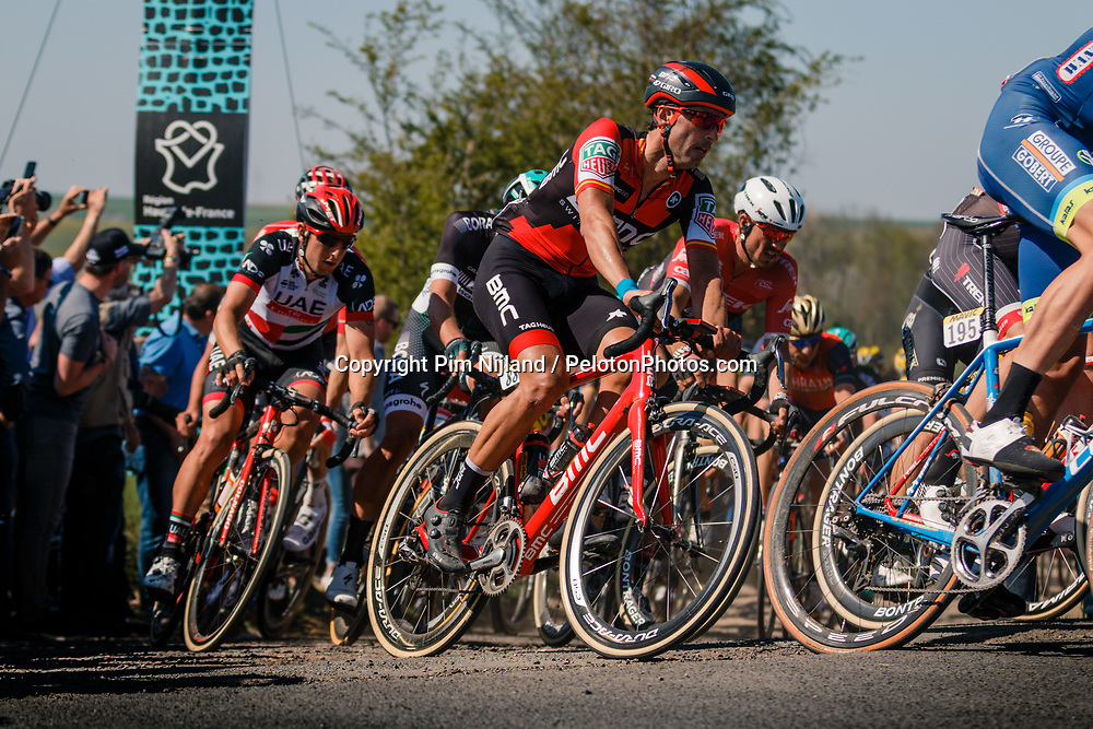 VENTOSO Francisco of BMC Racing Team in the peloton during the 115th Paris-Roubaix (1.UWT) from Compiègne to Roubaix (257 km) at cobblestones sector 25 from Briastre to Solesmes, France, 9 April 2017. Photo by Pim Nijland / PelotonPhotos.com | All photos usage must carry mandatory copyright credit (Peloton Photos | Pim Nijland)