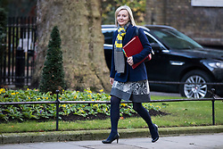 © Licensed to London News Pictures. 19/12/2017. London, UK. Chief Secretary to the Treasury Elizabeth Truss arrives on Downing Street for the weekly Cabinet meeting. Photo credit: Rob Pinney/LNP
