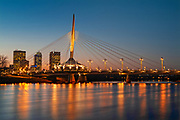 Esplanade Bridge over the Red River at sunset<br />