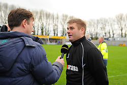 Weston Super Mare Manager, Micky Bell is interviewed due to the match being postponed.  - Photo mandatory by-line: Nizaam Jones - Mobile: 07583 387221 - 08/11/2014 - SPORT - Football - Weston-super-Mare - Woodspring Stadium - WSM v Doncaster - Sport - Round One