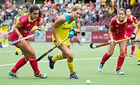 BRUSSEL - Madison Fitzpatrick (Aus.)  with Rocio GUTIERREZ (SPA)  and Maria LOPEZ (SPA)   during AUSTRALIA v SPAIN (4-1) , Fintro Hockey World League Semi-Final (women) . COPYRIGHT KOEN SUYK
