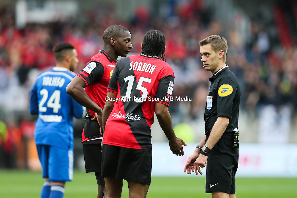 Younousse SANKHARE / Jeremy SORBON / Clement TURPIN - 04.04.2015 - Guingamp / Lyon - 31eme journee de Ligue 1<br />