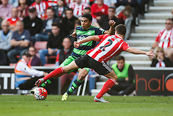 Swansea City's Jefferson Montero is tackled by Southampton's Cedric Soares - Mandatory by-line: Jason Brown/JMP - 07966 386802 - 26/09/2015 - FOOTBALL - Southampton, St Mary's Stadium - Southampton v Swansea City - Barclays Premier League