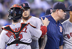 June 19, 2017 - Kansas City, MO, USA - Boston Red Sox starting pitcher Hector Velazquez is relieved by manager John Farrell in the sixth inning  against the Kansas City Royals on Monday, June 19, 2017 at Kauffman Stadium in Kansas City, Mo. (Credit Image: © John Sleezer/TNS via ZUMA Wire)