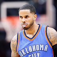 21 December 2015: Oklahoma City Thunder guard D.J. Augustin (14) is seen during the Oklahoma City Thunder 100-99 victory over the Los Angeles Clippers, at the Staples Center, Los Angeles, California, USA.