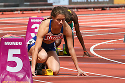 London, 2017 August 06. Zoey Clark at the start of heat five of the Women's 400m on day three of the IAAF London 2017 world Championships at the London Stadium. © Paul Davey.