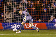 Sheffield Wednesday goalkeeper Cameron Dawson (25) sees a back pass almost go in during the The FA Cup 3rd round replay match between Luton Town and Sheffield Wednesday at Kenilworth Road, Luton, England on 15 January 2019.
